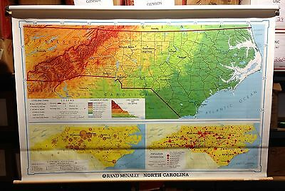 Vintage Rand McNally Political North Carolina Pull Down Map