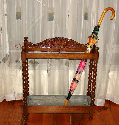 ANTIQUE HALL STAND CANE UMBRELLA STICK c1910 ENGLISH 2 SECTIONS HAND CARVED OAK