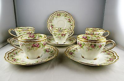 5 Theodore Haviland Limoges China Schleiger 855a Demitasse Cup + Saucer Sets