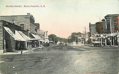 Belle Fourche SD Second Street Scene Old West Stores Signs 1910 Postcard