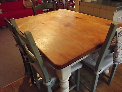 Farmhouse solid pine table and 4 chairs.....