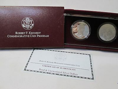 1998 Robert F Kennedy 2 Coin Proof Uncirculated Silver Dollar Commemorative Set