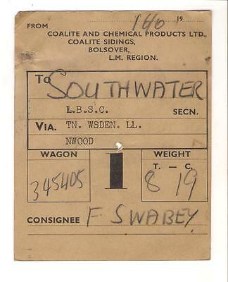 NCB Wagon Label Coalite & Chemical Products Ltd, Bolsover, to Southwater