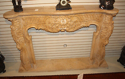 Massive French Carved Italian Marble Fireplace Mantel Mantle Surround 1940s WOW!