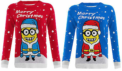 New Kids Girls Unisex Merry Christmas Jumper Minion Print Knitted Jumper