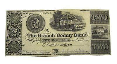 State of Michigan Obsolete Branch County Bank $2 Dollar Note (CC#169)