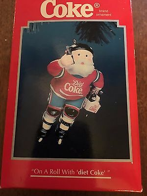 "Enesco Christmas Tree Ornament  ""on A Roll With Diet Coke"" Rollerblading Santa"