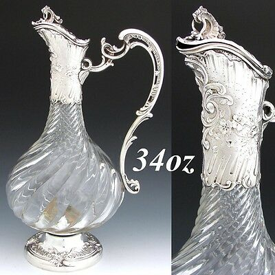 "Fine Antique French Rococo Sterling Silver 12"" Claret Jug, Spiral Cut Glass Body"