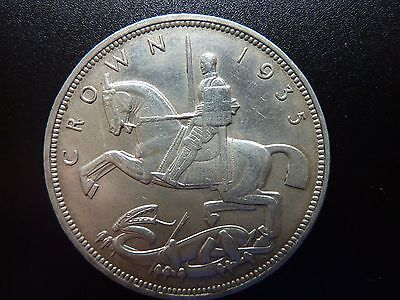 1935 George V Rocking Horse Silver Crown Nice Grade