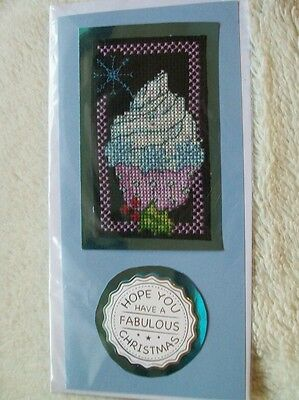 Completed cross stitch card - snowflake cupcake