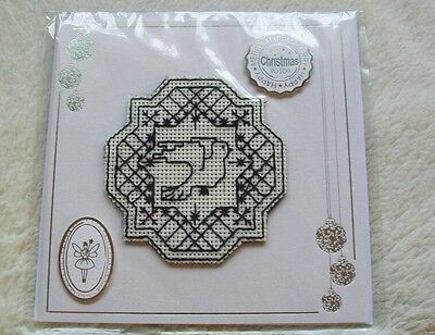 Completed cross stitch card - dove