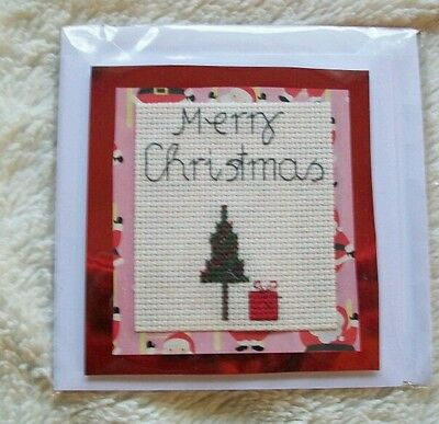 Completed cross stitch card - Christmas tree and present