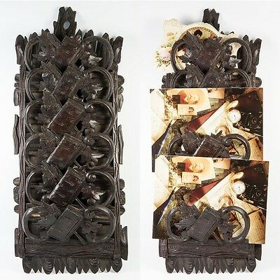 Antique Carved Black Forest Plaque for Daily Calling Cards, Appointments, Mail