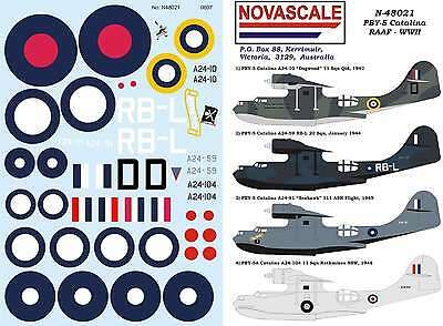 RAAF PBY-5 Catalina Decals WWII 1/48 Scale N48021
