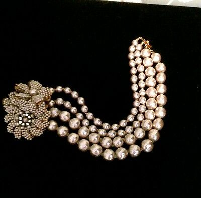 Signed Miriam Haskell 4 Strand Baroque Pearl & Rhinestone Bracelet
