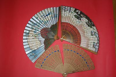 Estate Find Trio of Oriental Japanese/Chinese Fans, Painted and Brise