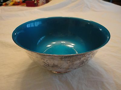 Vintage Reed and Barton #1120 Silver Plated Blue Enamel Lined Bowl