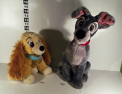 """2 x LARGE DISNEY STORE LADY AND THE TRAMP MOVIE SOFT TOY - 14"""" TRAMP & 12"""" LADY"""