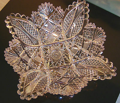 Antique Hawkes American Brilliant Period Abp Cut Glass Bowl Gorgeous!