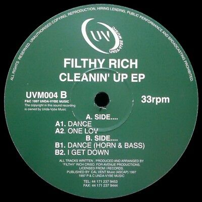Filthy Rich Cleanin Up EP Vinyl Single 12inch Unda-Vybe