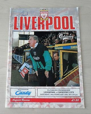 Liverpool Football Club versus Coventry 1994 programme signed by Alan Kennedy
