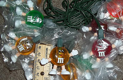 Vintage String of M & M's Happy Party Lights Christmas Tree Set of 20 M&M's #a