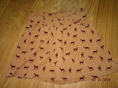 GIRLS BEIGE KNEE LENGHT CORD SKIRT WITH CHRISTMAS REINDEER DESIGN age 12 years