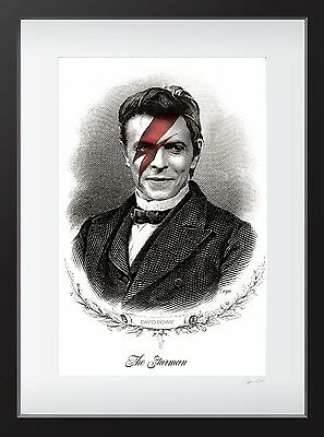 Framed David Bowie Engraved Style Art Print - Limited Edition Rare