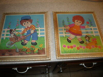 Raggedy Ann and Andy Vintage Wall Art by Lyn Action Decorator Plaques