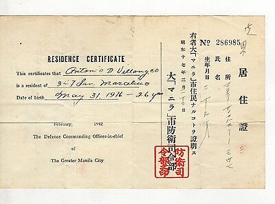 Residence Certificate-Greater Manila City/Japanese Occupation/World War 2-1942
