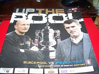 FA CUP 3RD ROUND PROGRAMME BLACKPOOL v IPSWICH TOWN  2/01/2010