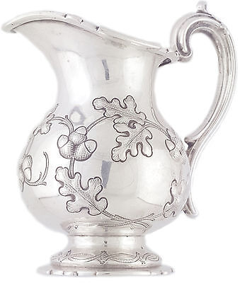 Antique Austrian 1800's 12 loth Silver hand chased Acorn repousse creamer LAMEYE