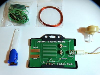 Crystal  Foxhole radio germanium diode  with headphones aerial ready to go .