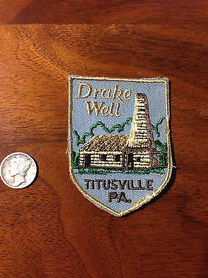 Vintage Drake Well Titusville PA Souvenir Travel 60's, 70's  Voyager Patch