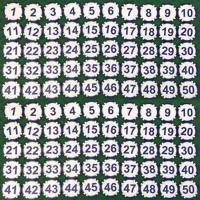 100 Sequentially Numbered Casino Quality Custom Poker Chips - Free Shipping