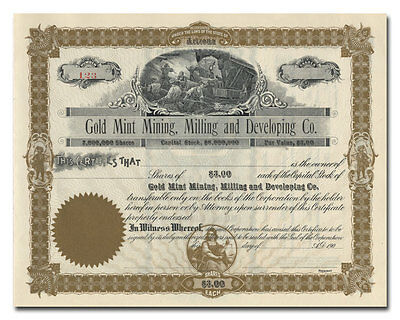 Gold Mint Mining, Milling and Developing Company Stock Certificate (Arizona)