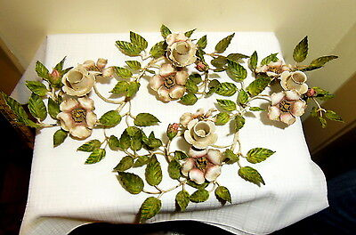VTG Pair of Metal  Italian Tole Painted Flower Candle Holders Shabby Chic