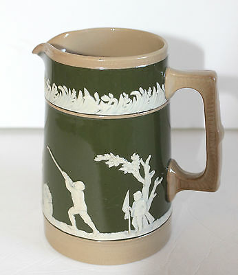 Copeland Late Spode Milk Jug Golfers In Relief Olive Green GOLF