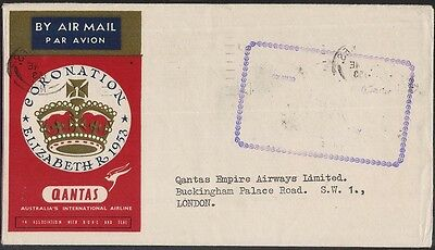 Pakistan 1953 Coronation First Flight Cover To London