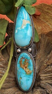 See Andy Cadman, Navajo, Huge Pilot MountainTurquoise Sterling Handcrafted Ring