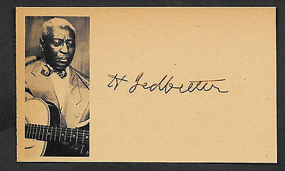 Huddie Lead Belly Ledbetter Autograph Reprint On Original Period 1930s 3x5 Card