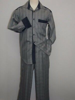 Men Two piece walking suit INSERCH Long Sleeves Slacks Set Plaid 121-33 gray NEW
