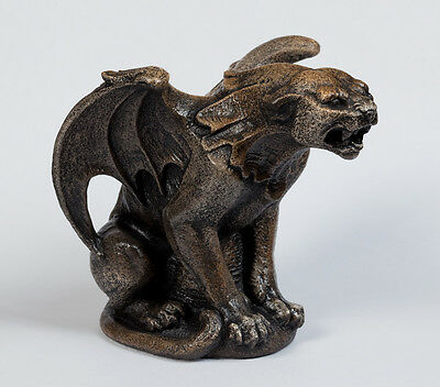 "Windstone Editions ""small Panther Gargoyle"" Statue, Fantasy Animal Figurine"