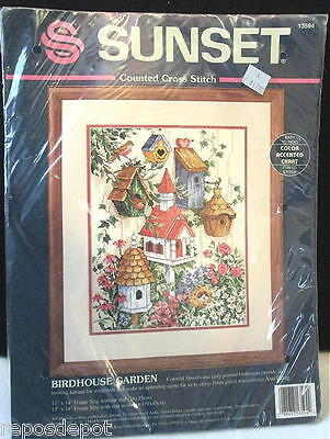 Sunset Dimensions Counted Cross Stitch Kit Birdhouse Garden Vintage 1994 #13594