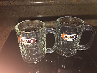 Vintage Set Of 2 A & W Root Beer Mugs - Nice - 4 Inch Tall