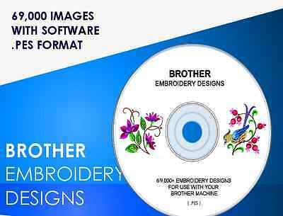 BROTHER PES Embroidery designs Massive 69000 COLLECTION + Software!