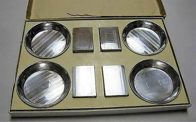 74 YEAR OLD SET OF 4 STERLING ASHTRAYS & MATCH BOX HOLDERS - The May Co., Denver