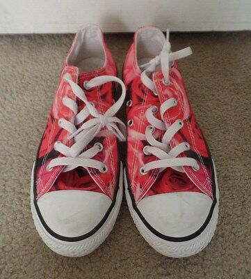 CUTE Pink Floral Roses Print CONVERSE All Star Tennis Shoes size 3 kids Womens 6