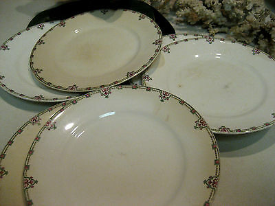 Vintage Homer Laughlin China 6 Saucers - Block Pattern - Stamped -Good Condition