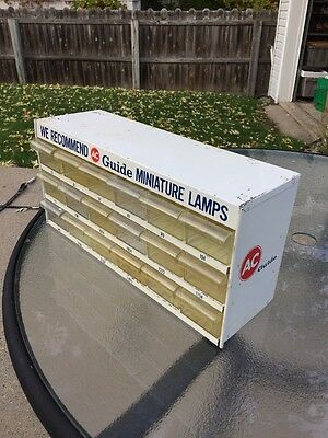 Nice Vintage Ac Guide Miniature Lamps 18 Drawer Metal Cabinet Parts Bin 2